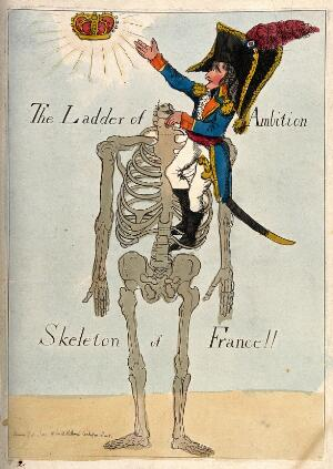 view Napoleon climbing a headless skeleton trying to reach an unattainable crown; representing his imperial ambitions for France and his own for sovereignty. Coloured etching, 1803.