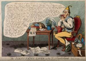 view A foolish man kissing a ribbon and surrounded by sentimental keepsakes; representing the Duke of Cumberland's love for Mrs. Powell. Coloured etching by I. Cruikshank, 1804.