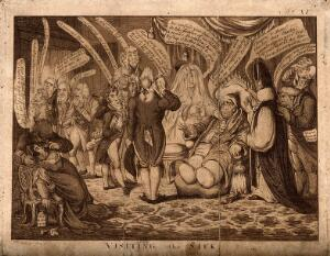 view Charles James Fox, dangerously ill, visited by an entourage of interested factions; representing the social and ministerial conflict surrounding him. Aquatint after J. Gillray, 1806.