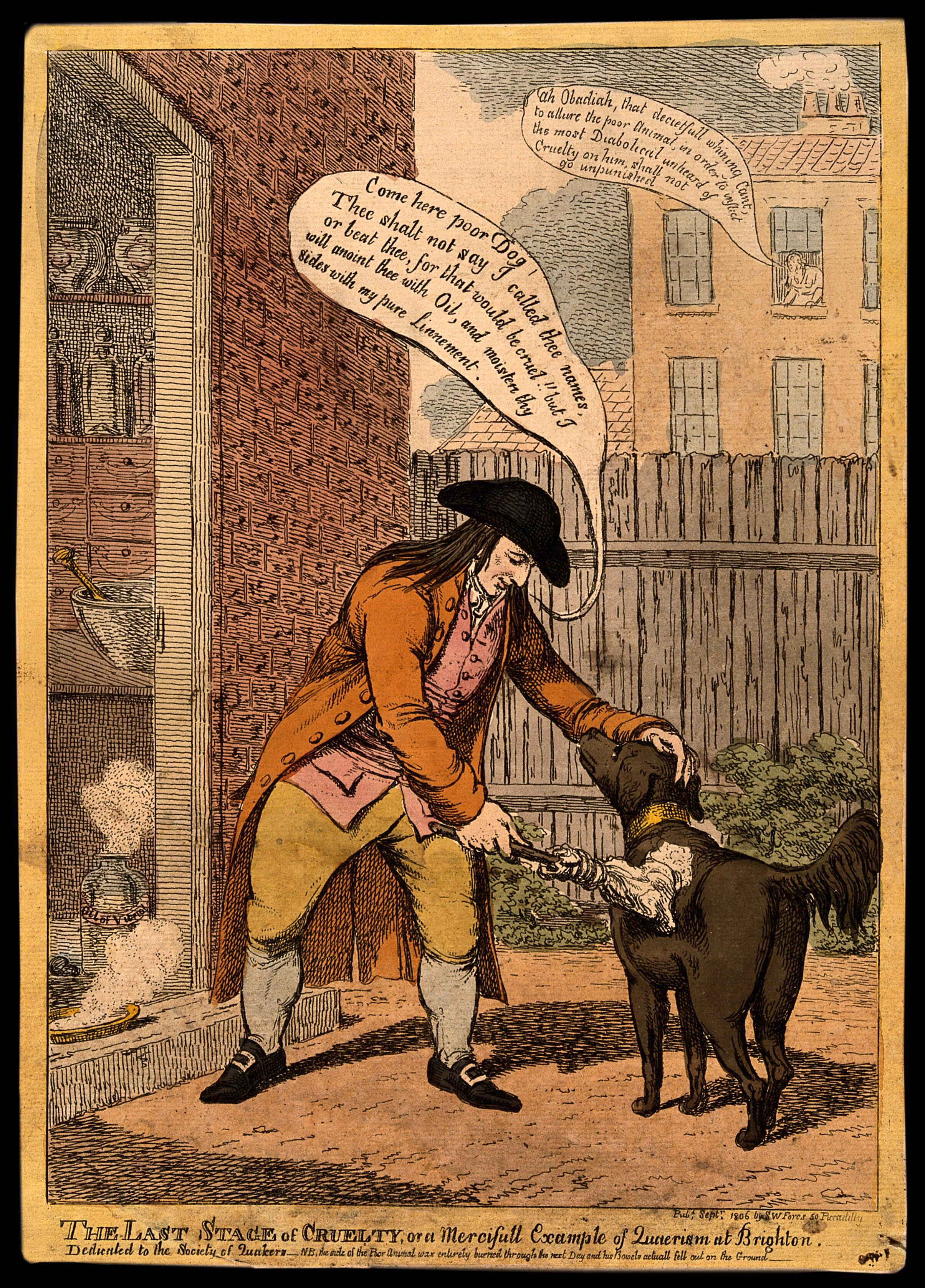 John Glaisyer a Quaker anointing a dog with burning vitriol oil