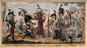 view The diminished Napoléon before his despondent relief troops squeezed into the skeletons of their predecessors; satirizing French military losses. Coloured etching by G. Cruikshank, 1813.