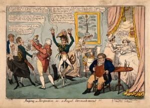 view The Prince Regent presenting to political ministers the expected baby of Princess Charlotte and Prince Leopold, who urinates in their faces; representing the burden of taxation required by the Royal family. Coloured etching by G. Cruikshank, 1816.