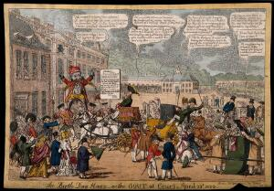 view People and carriages converging on Buckingham House - being met by a fire-breathing monster; representing the King's cancellation of the 'Drawing Room' because of contracting gout. Coloured etching by C. Williams, 1823.