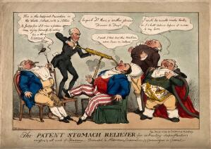 view Doctor Jukes pumping the stomach of Sir W. Curtis, several other aldermen wait to be operated on; representing the gross appetites of some civic dignitaries. Coloured etching by W. Heath, 1824.