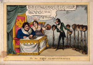view King George IV with Lady Conyngham inspecting wigs on wig-stands presented by a Frenchman; representing a disagreement in the cabinet with the 'Canning-ites' over the Corn bill. Coloured etching by T. Jones, 1828.