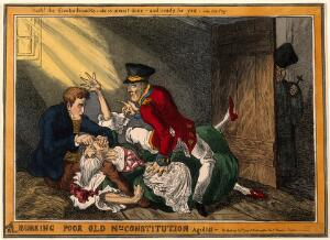 view Wellington and Peel in the roles of the body-snatchers Burke and Hare suffocating Mrs Docherty for sale to Dr. Knox; representing the extinguishing by Wellington and Peel of the Constitution of 1688 by Catholic Emancipation. Coloured etching after W. Heath, 1829.