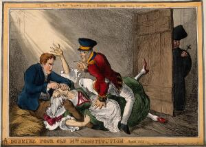 view Burke and Hare suffocating Mrs Docherty for sale to Dr. Knox; satirizing Wellington and Peel extinguishing the Constitution for Catholic Emancipation.