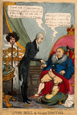 view A gouty patient having his pulse taken by a doctor; representing George IV's opposition to Catholic emancipation, and Wellington's support of it. Coloured etching by T. Jones, 1829.