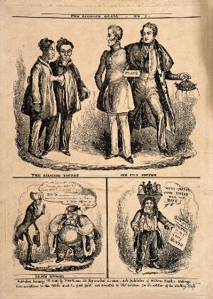 view Wellington and Peel compared with the Siamese twins (above); a rich bishop and a poor parson; and a street vendor of figurines. Etching by W. Heath, 1830.