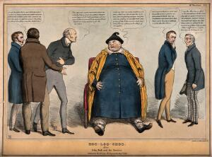 view John Bull presented as the Chinese labourer Hoo Loo surrounded by surgeons discussing the removal of his tumor; referring to British political reform. Coloured lithograph by J. Doyle, 1831.