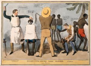 view Lord Goderich shaving, and Lord Howick shoeing, a group of slaves: referring to the abolitionists. Coloured lithograph by J. Doyle, 1832.