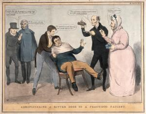 view A man being restrained in a chair while a doctor and nurse prepare to give him some medicine; referring to English politicians' feelings towards Daniel O'Connell. Coloured lithograph by J. Doyle, 1833.