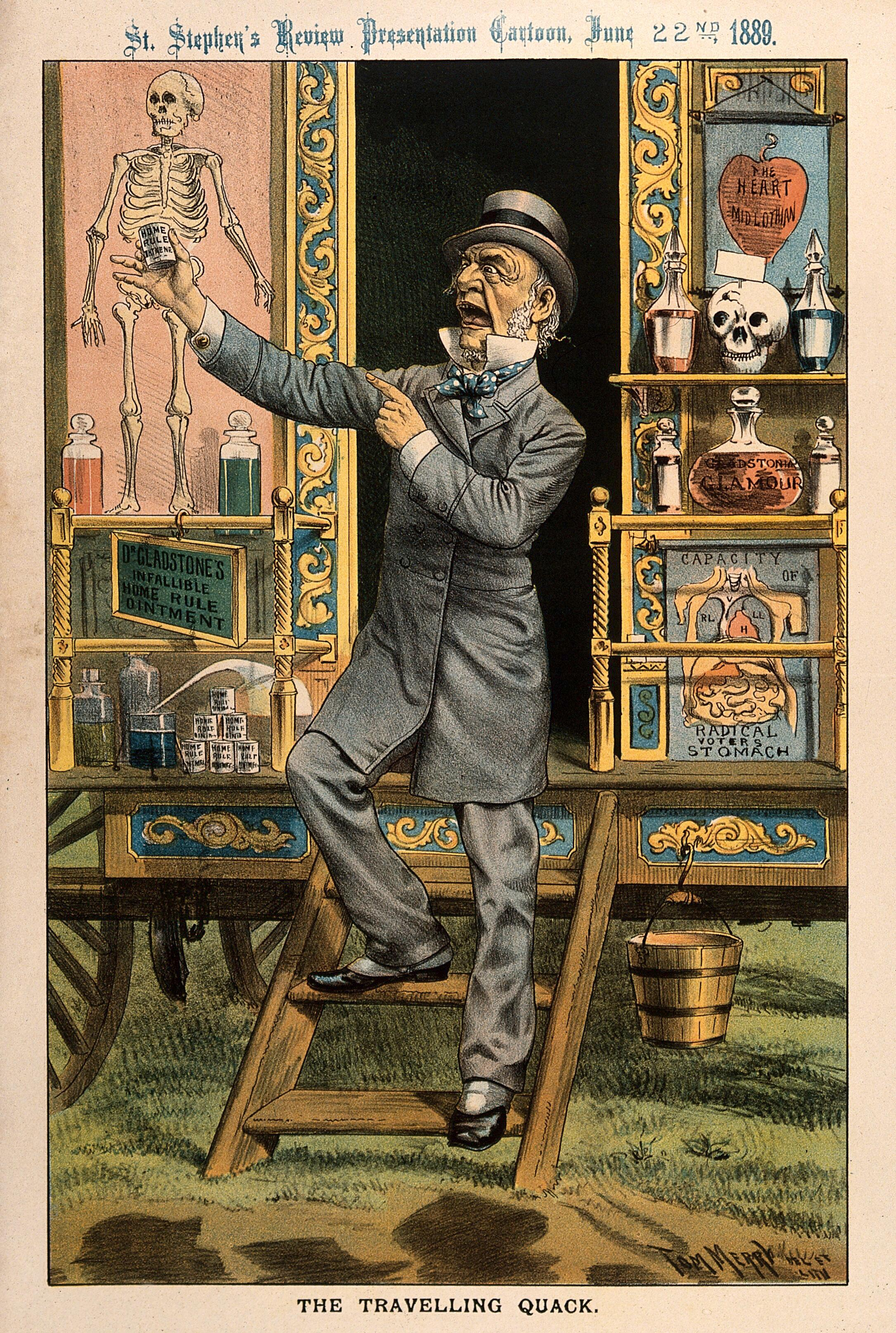 W.E. Gladstone as a quack doctor selling remedies from his ...