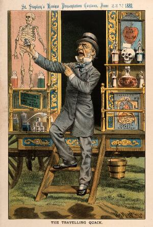 view W.E. Gladstone as a quack doctor selling remedies from his caravan; representing his advocacy of the Home Rule Bill in Parliament. Chromolithograph by T. Merry, 1889.