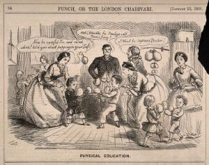 view Children encouraged by their teachers to box as a positive and healthy recreation. Wood engraving by J. Leech, 1858.