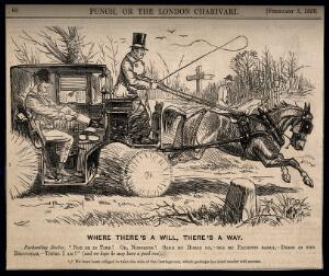 view A doctor changing into hunting clothes in his carriage while rushing to join a fox-hunt. Wood engraving by John Leech, 1859.