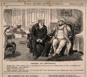 view A doctor visiting a patient and advising him against drinking alcohol, the patient responds by inviting him to dinner and some port, in order to avoid jury service. Wood engraving by C. Keane, 1865.