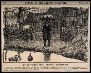 view A depressive man standing by a country pond in the pouring rain - not helping his state of mind. Wood engraving, 1869.
