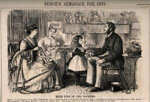 view A snobbish mother resistant to her daughter's doctor using a vaccine from their neighbour's child. Wood engraving by G. Du Maurier, 1872.