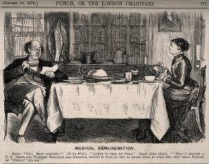 view A doctor reading out a letter from a dissatisfied patient to his wife over breakfast. Wood engraving by C. Keene, 1878.