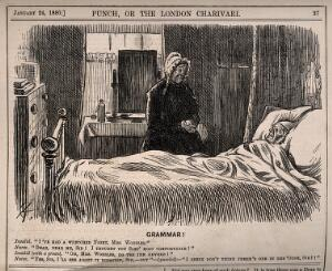 view An invalid in bed groaning at his servant's grammatical error. Wood engraving by C. Keene, 1880.