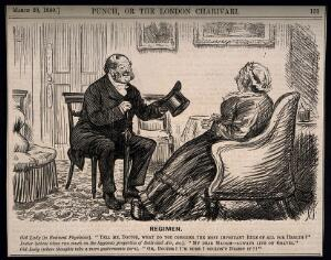 view A physician and his female patient talking at cross purposes. Wood engraving by C. Keene, 1880.