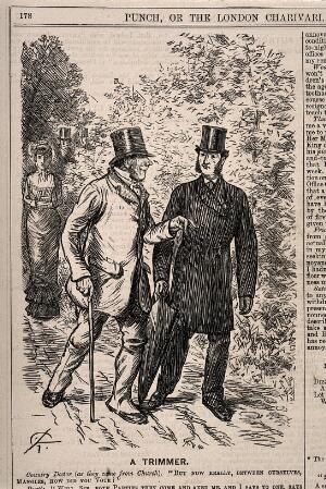 view A country doctor enquiring how a farm worker has voted. Wood engraving by C. Keene, 1880.
