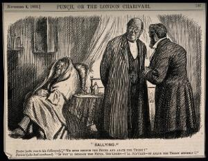 view Two doctors discussing a patient who has a fever and a great thirst, the patient overhears and promises to cure the thirst if they can deal with the fever. Wood engraving by C. Keene, 1882.
