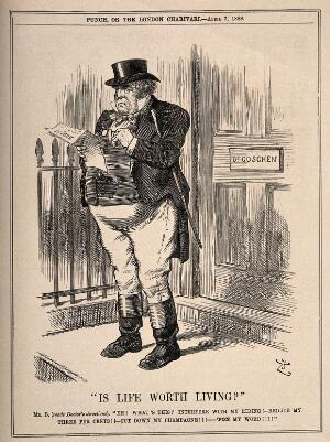 view A dismayed man reading his doctor's recommendations to cut back on aspects of life that he enjoys. Wood engraving by Swains, 1888, after Sir J. Tenniel.