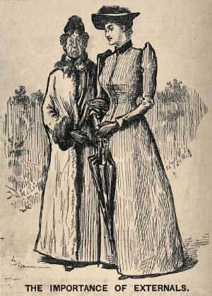 view A young lady recommending a specific doctor to her aunt, who rejects her idea because of his outrageous dress-sense. Wood engraving after G. Du Maurier, 1892.