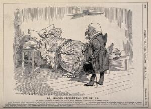 view Sir Leander Jameson ill in bed being visited by Dr. Punch; representing Jameson's involvement with the disastrous Transvaal campaign which heralded the Boer War. Wood engraving after Sir E.L. Sambourne, 1896.