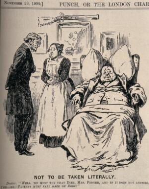 view A doctor recommending a specific diet to his obese patient's servant. Wood engraving by G. Browne, 1899.