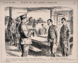view A soldier complaining of pain in his abdomen to a corporal, the corporal retorts that he has a stomach - only officers have abdomens. Wood engraving by Gunning King, 1912.