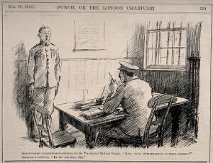 view A soldier being interviewed for the medical corps who doesn't know where his spleen is. Wood engraving, 1912.