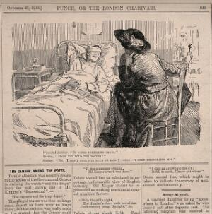 view A patient complains to a visitor that he does not discuss with his doctor how he feels for fear of discouraging him. Wood engraving by F.H. Townsend, 1915.
