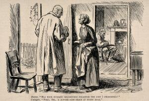 view A doctor and the wife of his patient talking at cross purposes. Reproduction of a drawing by H.M. Brock, 1921.