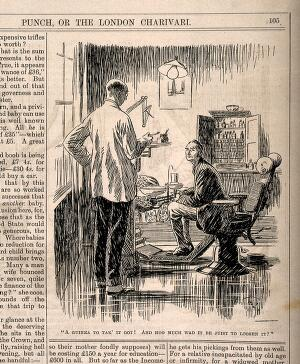 view A man deciding that the dentist's fee for pulling a tooth is too expensive - he enquires how much is it to loosen it. Reproduction of a drawing, 1926.