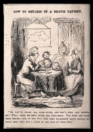 view An unsympathetic doctor trying to get rid of a poor patient by frightening her. Wood engraving after J. Leech.