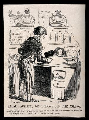 view An unscrupulous chemist selling a child arsenic and laudanum. Wood engraving after J. Leech.
