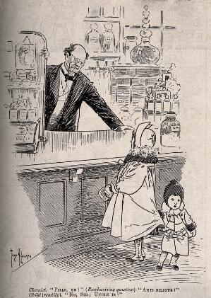 view A child misunderstanding a chemist. Wood engraving after T. Wilkinson.