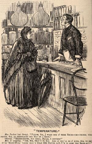 view An old lady in a chemists misunderstanding the use of a thermometer. Wood engraving after C. Keene.