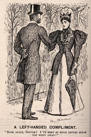view A fashionably dressed lady meets her doctor in the park and informs him that she feels much better since he went away. Wood engraving after G. Du Maurier.