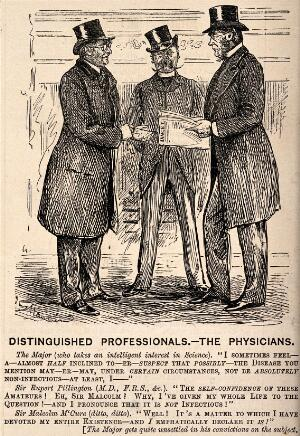 view A major discussing medicine with two doctors. Wood engraving after G. Du Maurier.