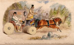 view A doctor changing into hunting clothes in his carriage, on his way to a hunt meeting. Watercolour painting by J. Leech.