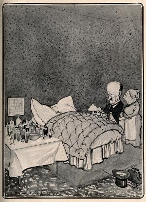 view A doctor visiting a sick child who is surrounded by medicine bottles, his mother waits in the background. Process print after H.M. Bateman, 1911.
