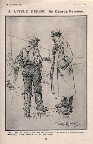 view A misunderstanding between a sick visitor and a native of a village in Scotland. Reproduction of a drawing after G. Belcher, 1912.