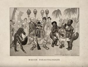 view A hunter offering a French gentleman three 'hottentot' (steatopygous) women; representing L. Sambon and R. Blanchard at an Anglo-French tropical medicine conference. Reproduction of a drawing by M.S. Orr, 1913.