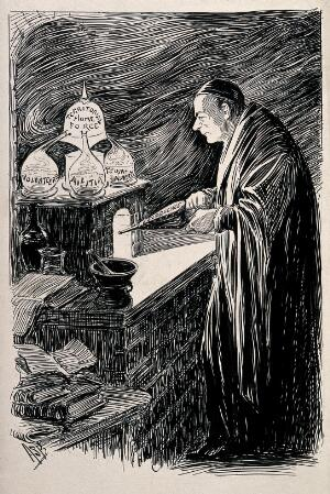 view An alchemist using bellows on a small furnace to heat a concoction he is creating; representing the effect of politicians on Britain. Pen drawing by A.S. Boyd.