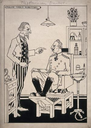 view A dentist (Uncle Sam) about to extract a tooth from a patient (Kaiser Wilhem II); representing America's successful involvement in the First world war. Pen drawing by P. Forbes-Robertson, 1918.