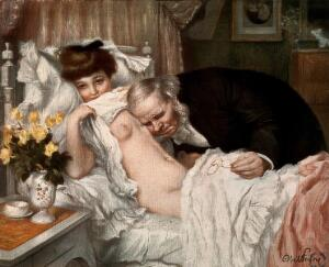 view A beautiful young woman looks away coyly while an aged doctor examines her chest. Chromolithograph after A. Faivre.